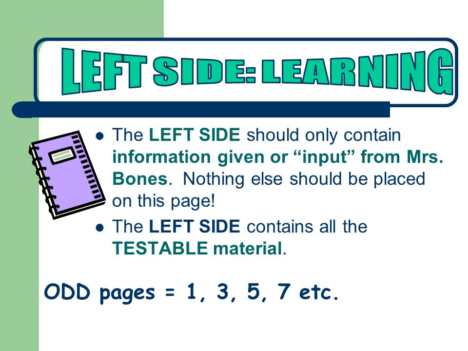 LEFT SIDE: LEARNING ODD pages = 1, 3, 5, 7 etc.