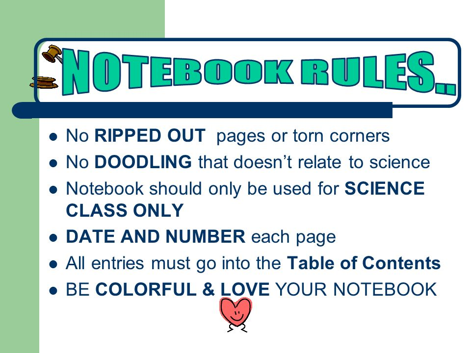 NOTEBOOK RULES.. No RIPPED OUT pages or torn corners