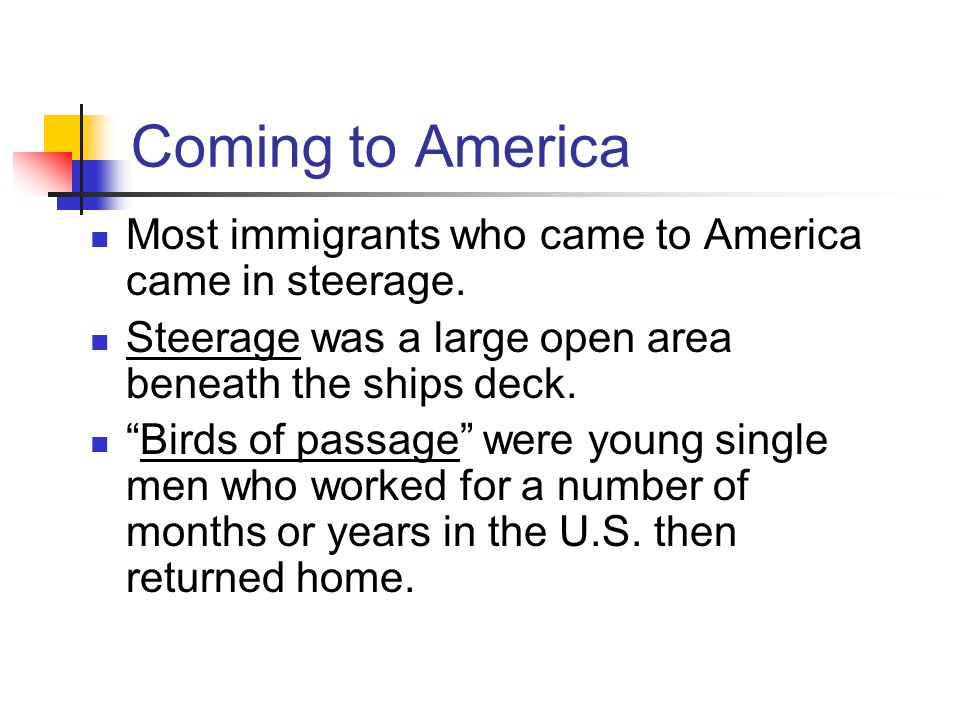 Coming to America Most immigrants who came to America came in steerage. Steerage was a large open area beneath the ships deck.