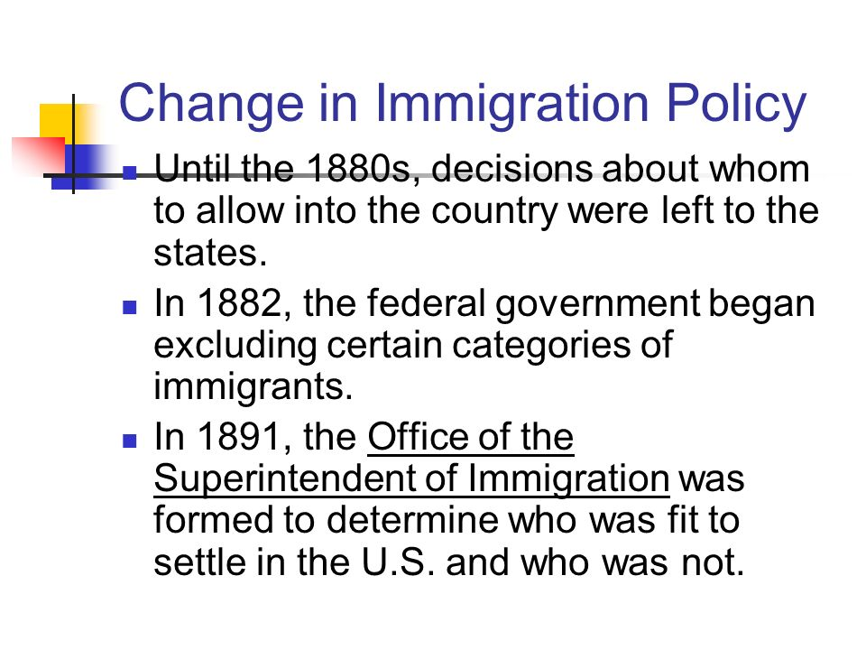 Change in Immigration Policy