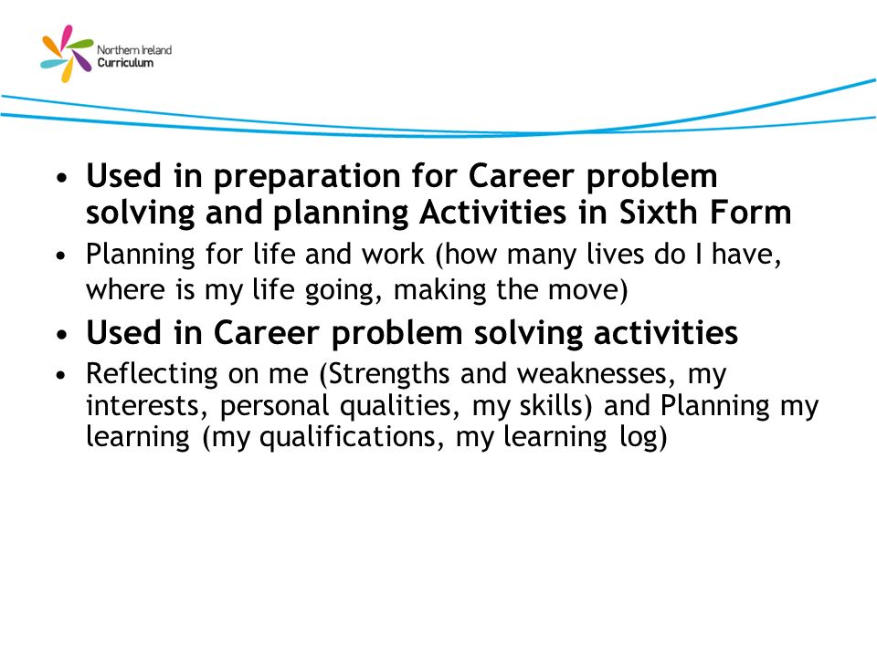 Used in Career problem solving activities