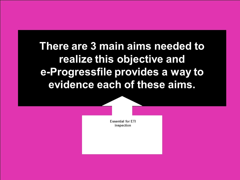 There are 3 main aims needed to realize this objective and e-Progressfile provides a way to evidence each of these aims.