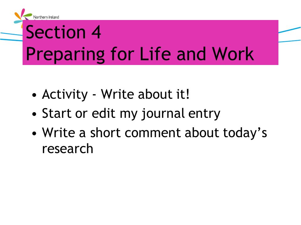 Section 4 Preparing for Life and Work