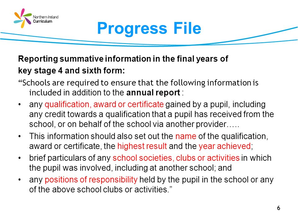 Progress File Reporting summative information in the final years of