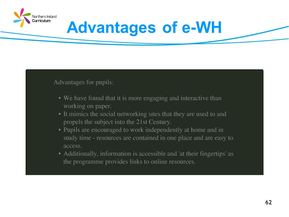 Advantages of e-WH