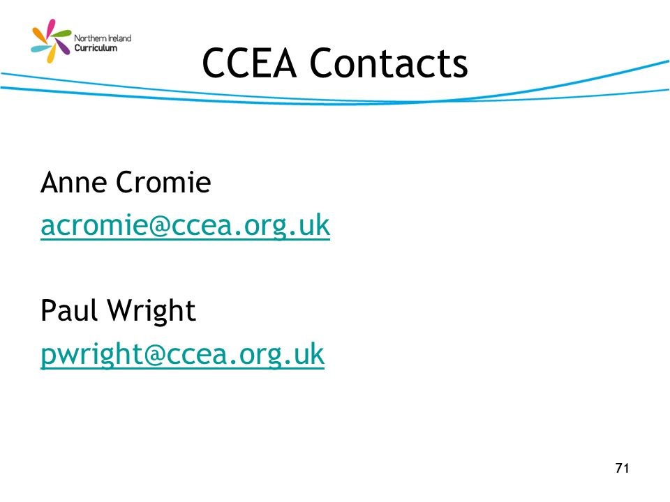 CCEA Contacts Anne Cromie Paul Wright