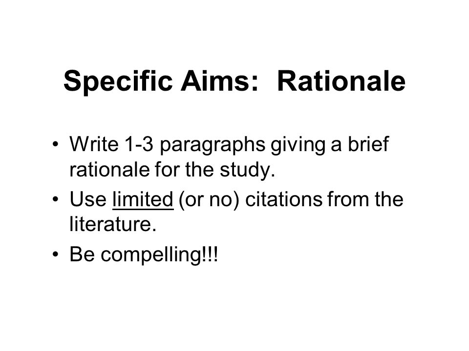 how to write rationale of the study