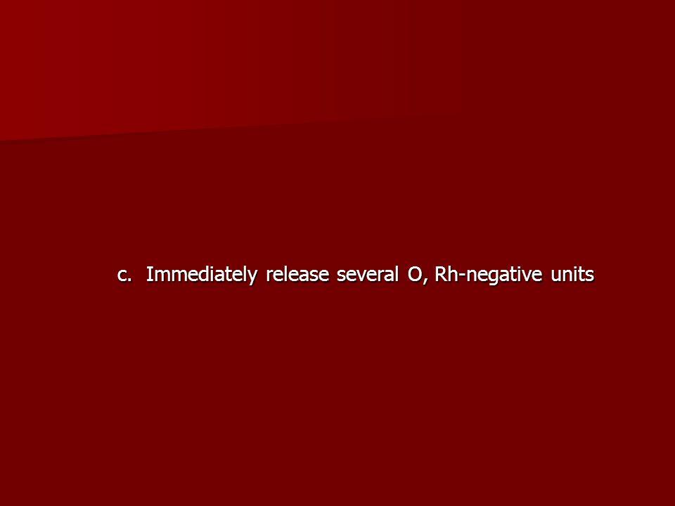c. Immediately release several O, Rh-negative units