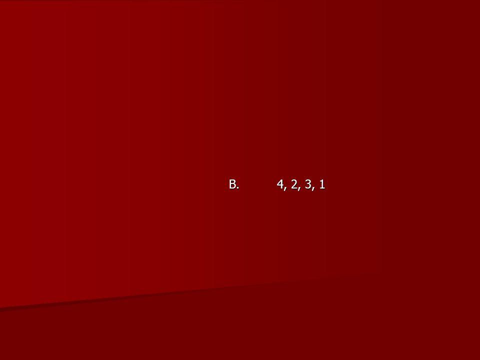 B. 4, 2, 3, 1
