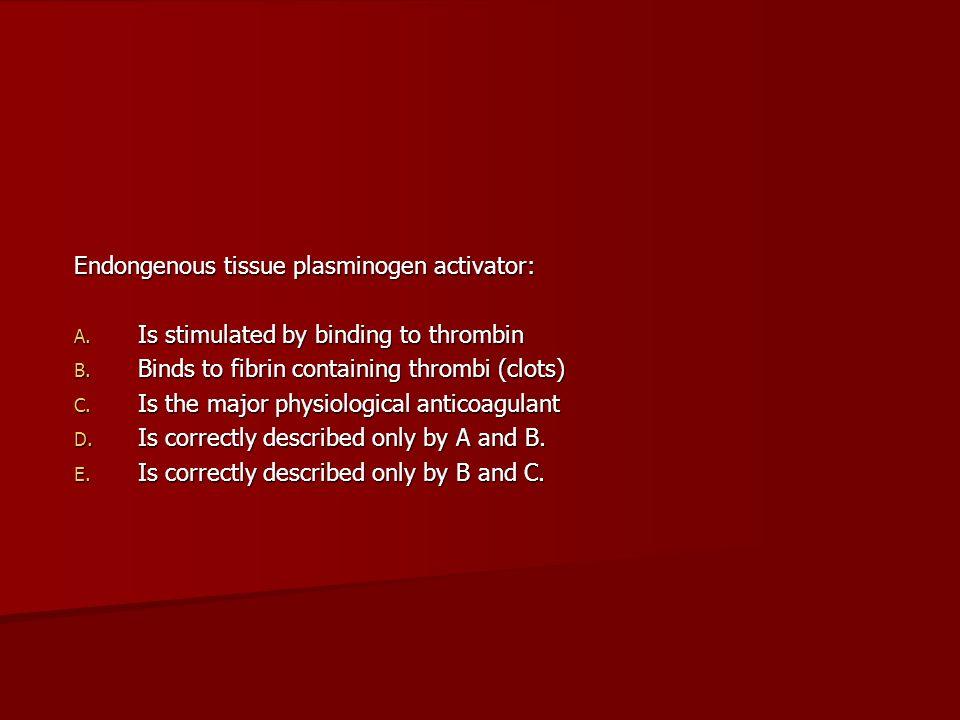 Endongenous tissue plasminogen activator: