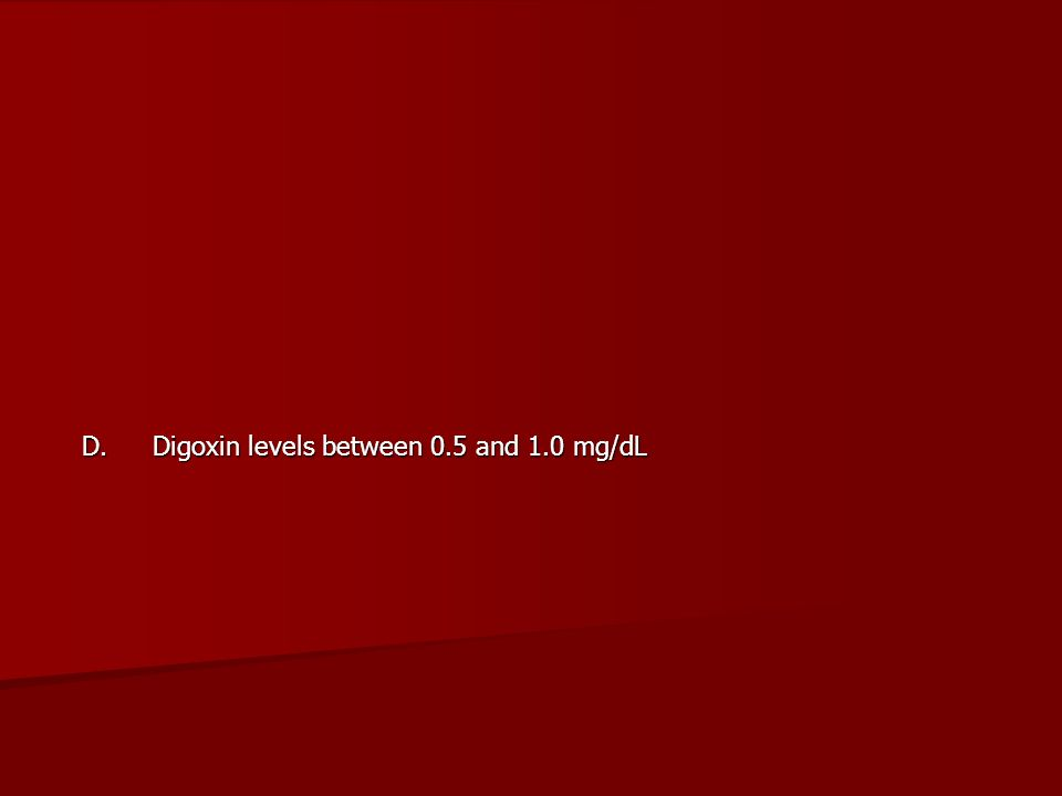 D. Digoxin levels between 0.5 and 1.0 mg/dL