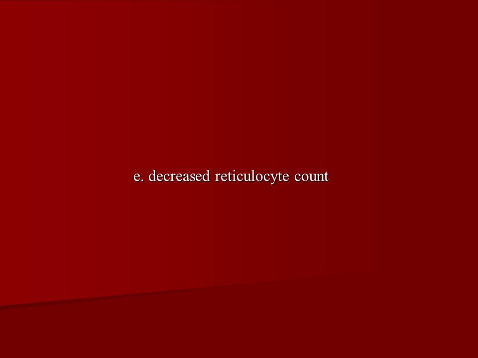 e. decreased reticulocyte count