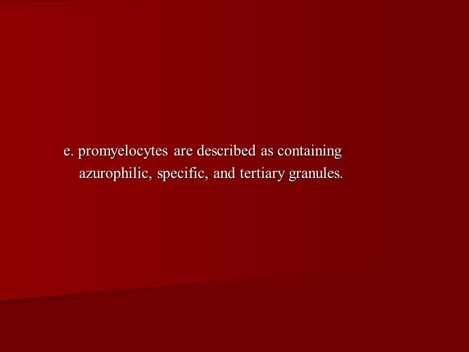 e. promyelocytes are described as containing