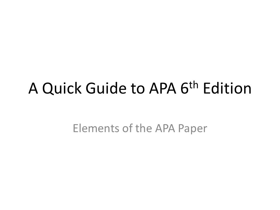 apa 6th guide