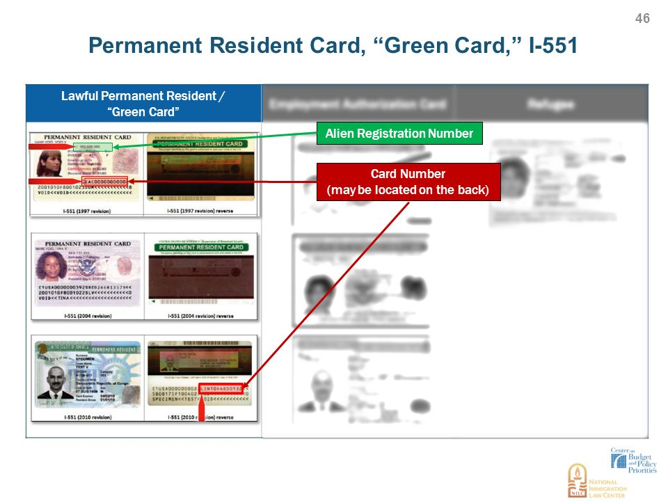 Permanent Resident Card C Green Card C I