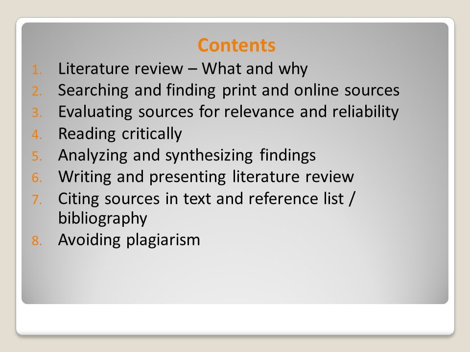 Evaluating sources for a literature review