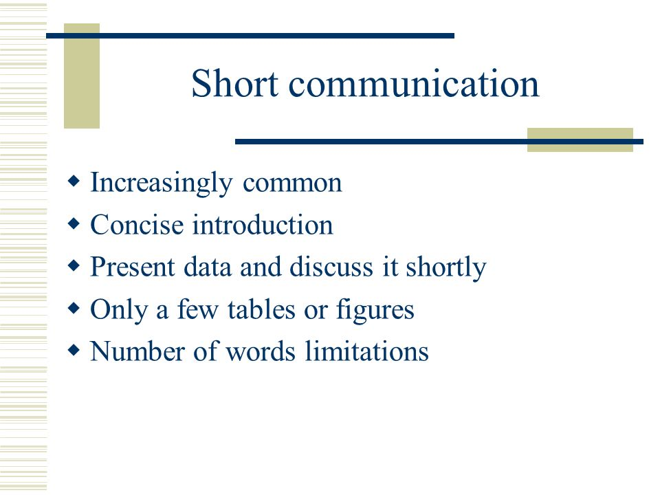 Short communication research paper