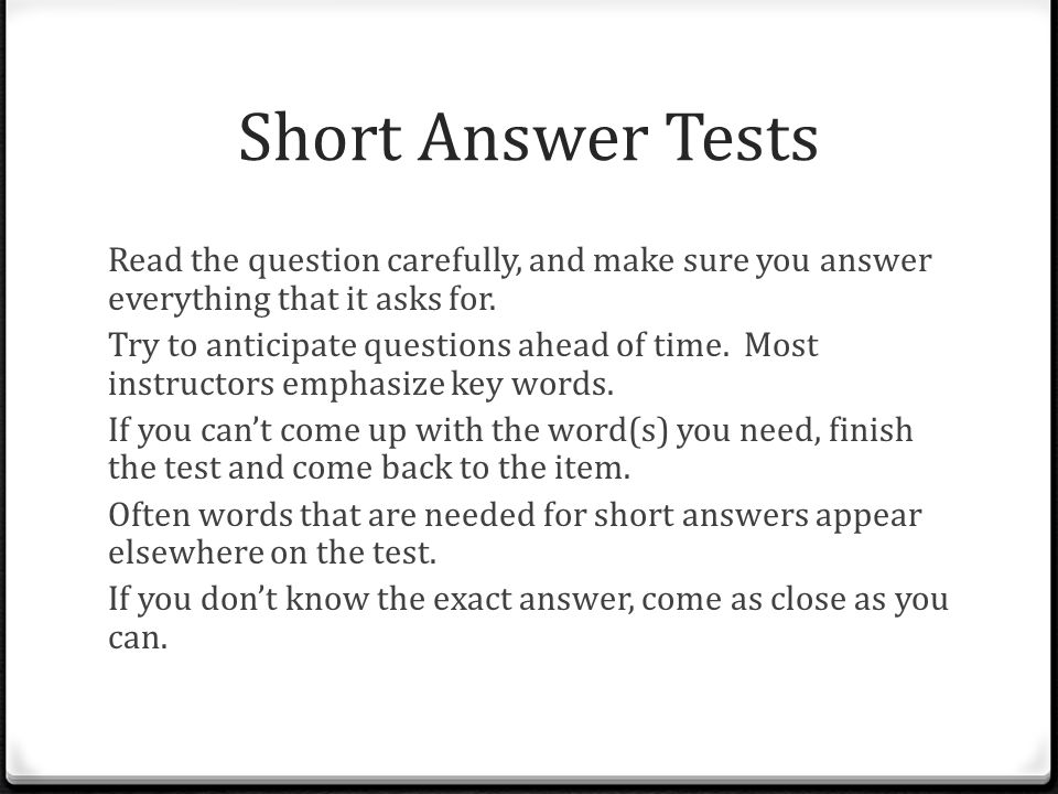 Short Answer Tests