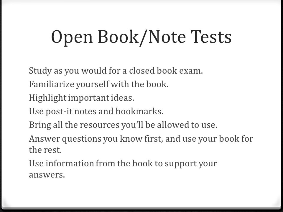 Open Book/Note Tests