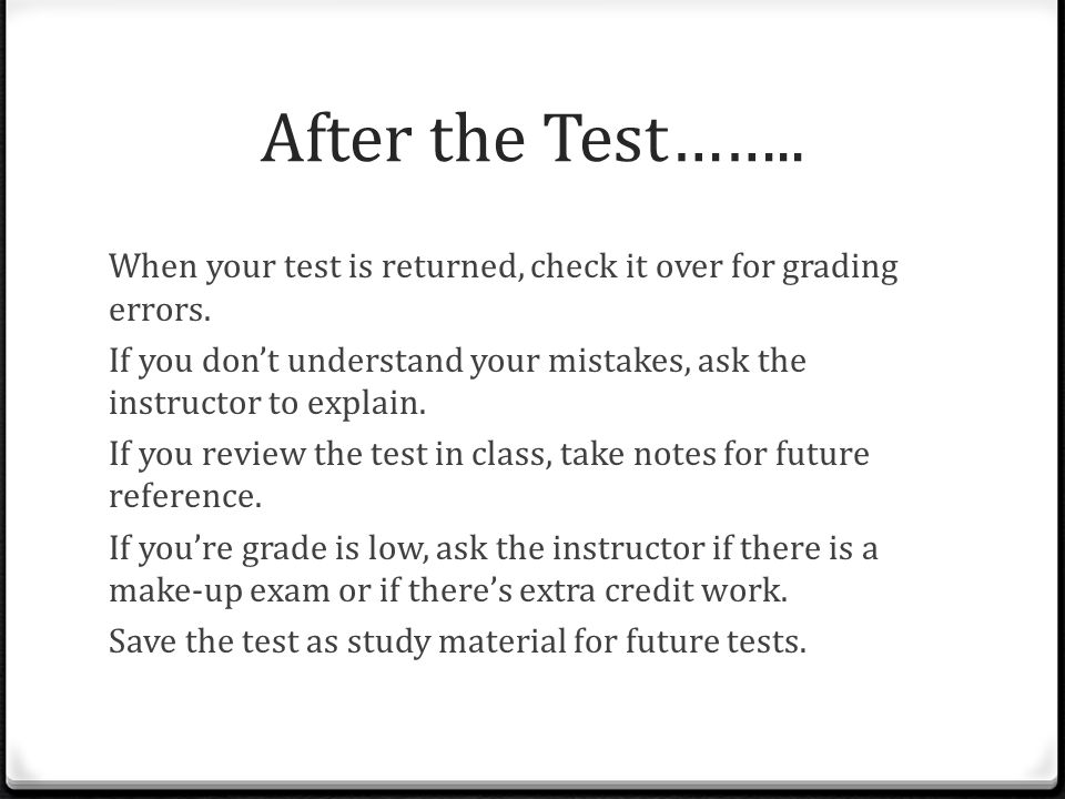 After the Test……..