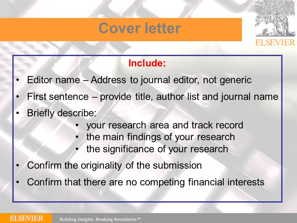 elsevier cover letter