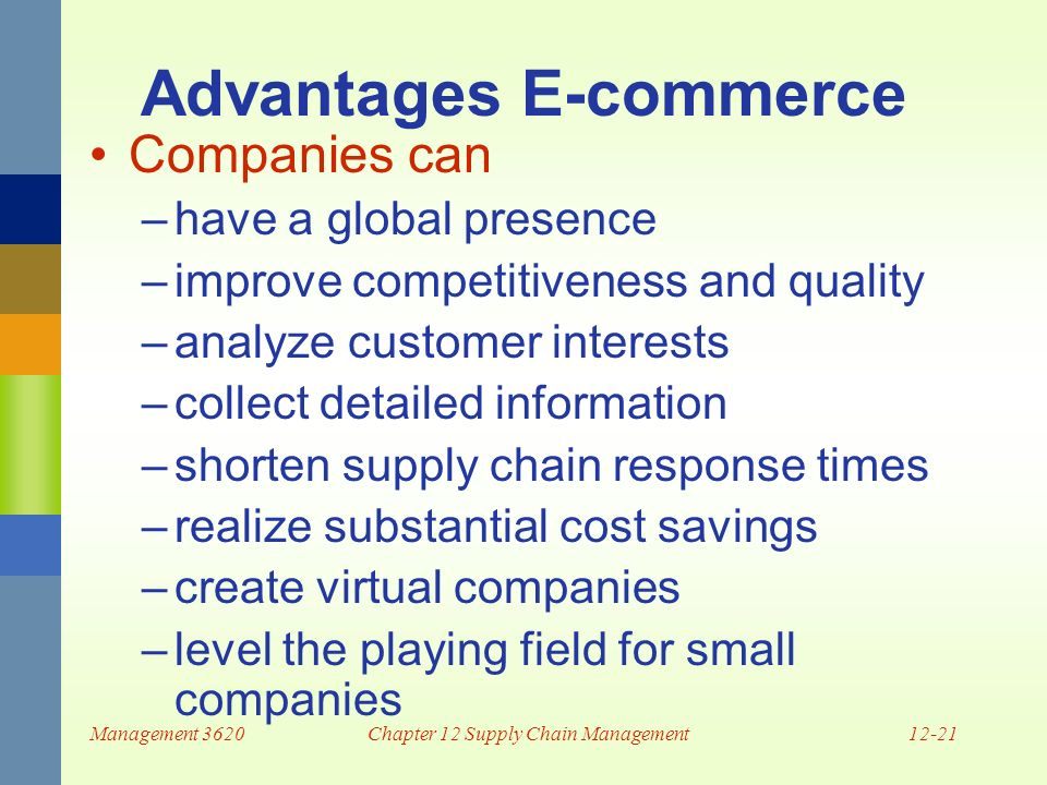 advantages of electronic commerce An introduction to electronic commerce yaser ahangari nanehkaran advantages, barriers and limitations of electronic commerce index terms: - electronic commerce, information technology, telecommunication networks, business, merchandise.