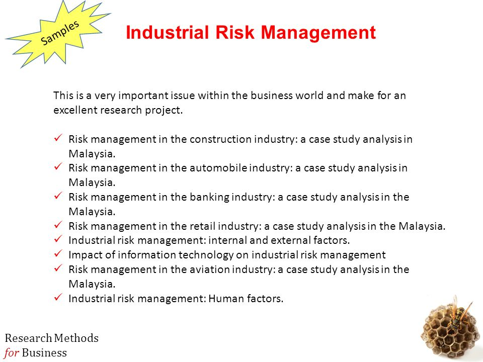 case study on risk management in construction industry Risk management process in case of construction industry involves following stages : 1 primary stage - risk identification 2 secondary stage - risk assessment - risk analysis 3 tertiary stage - risk mitigation 2risks at various stages of project the following is a listing of many construction industry risks and exposures 21.
