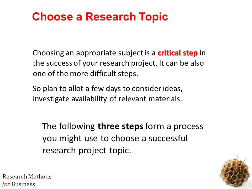 mbb business research methods ppt  choose a research topic