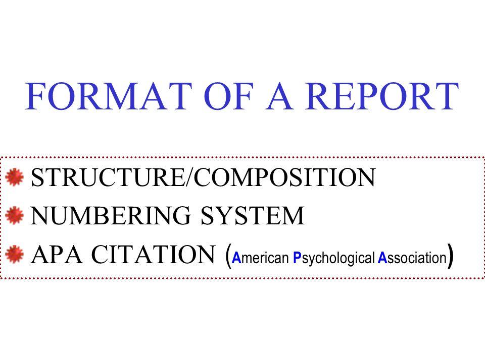 apa format report