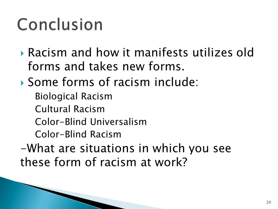 an overview of the three forms of racism Racism outline essays and to give a quick overview into the two books the bluest eye takes place during the 1940's racism the three different forms.