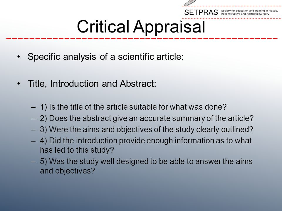 analysis of scientific c essay How to write a critical analysis convince the reader of your essay that he or she should care let the reader know that the topic is relevant by contemporary.