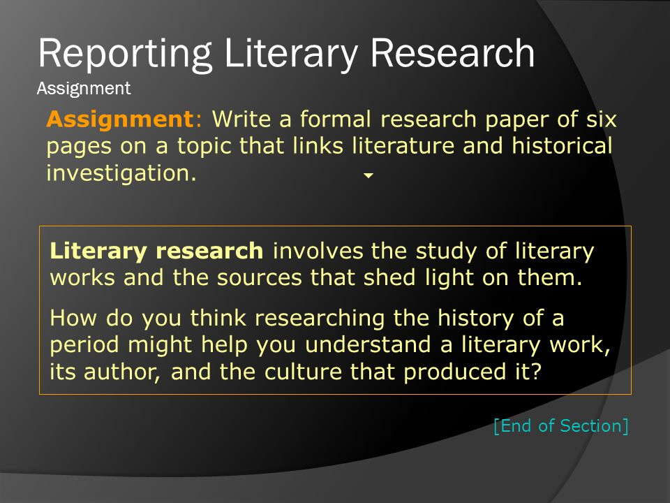 literary work research paper Research within librarian-selected research topics on literary themes and topics  world war i poetry (primary works) world war ii fiction (primary sources.