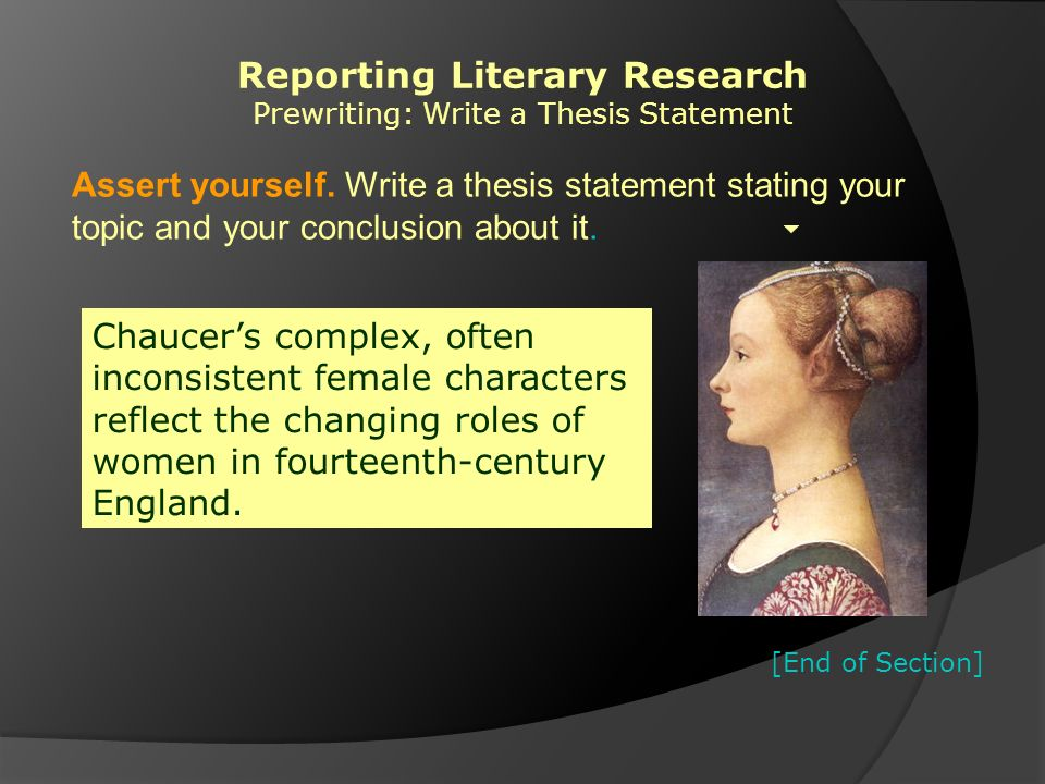 writing a literary thesis Literary analysis essay objective: analyze a work of literature (short story, poem, novel, play, etc) create a thesis that conveys a unique or interesting idea about the work, and then prove your thesis.