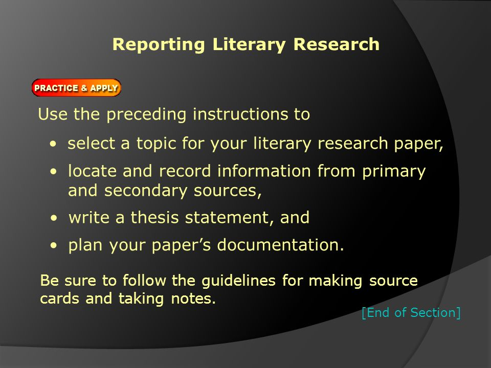 literary research paper topics