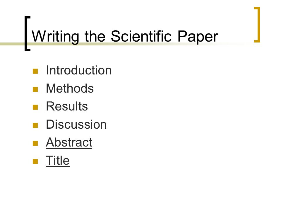 Writing scientific paper introduction