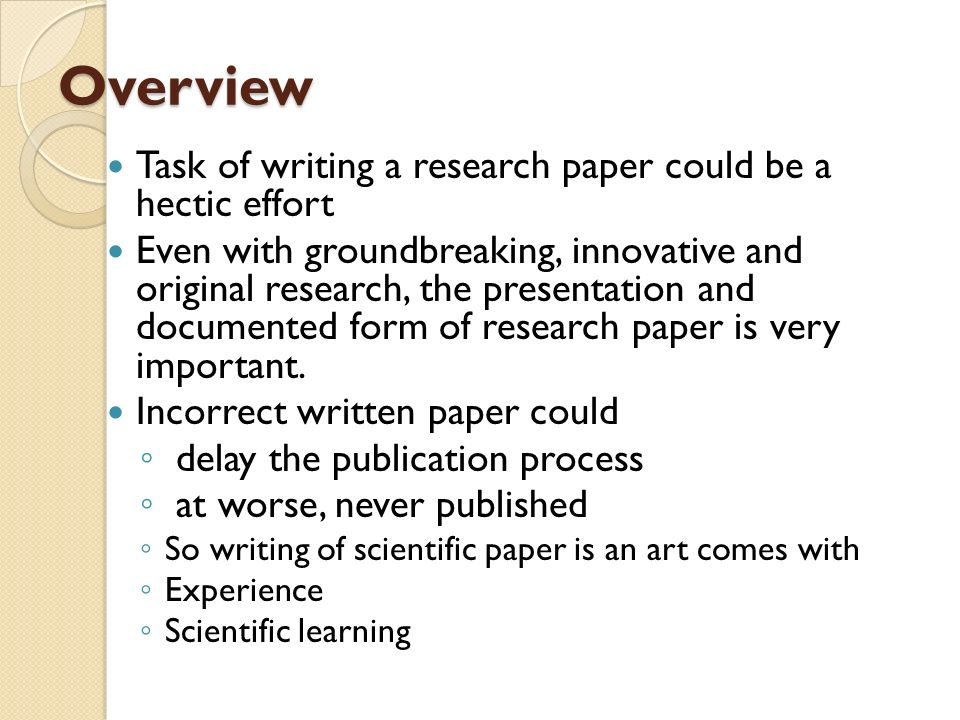 Writing research paper for publication