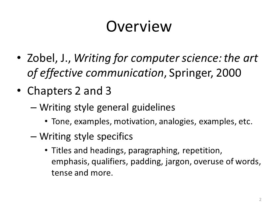 writing style guidelines ppt video online  overview zobel j writing for computer science the art of effective communication