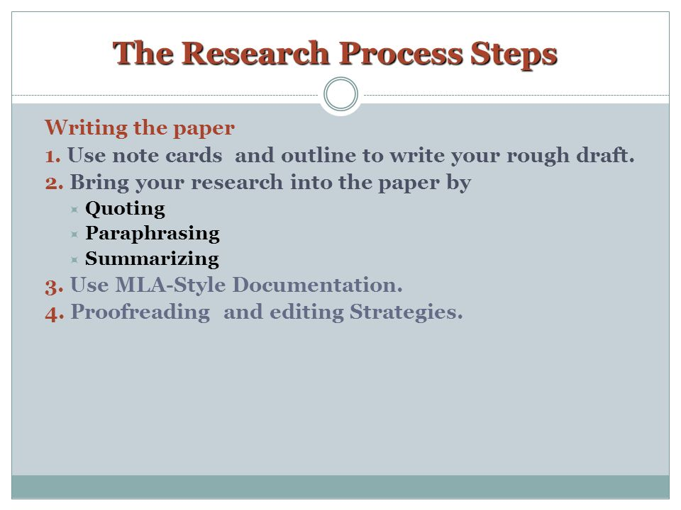 Step by step instructions on writing a research paper
