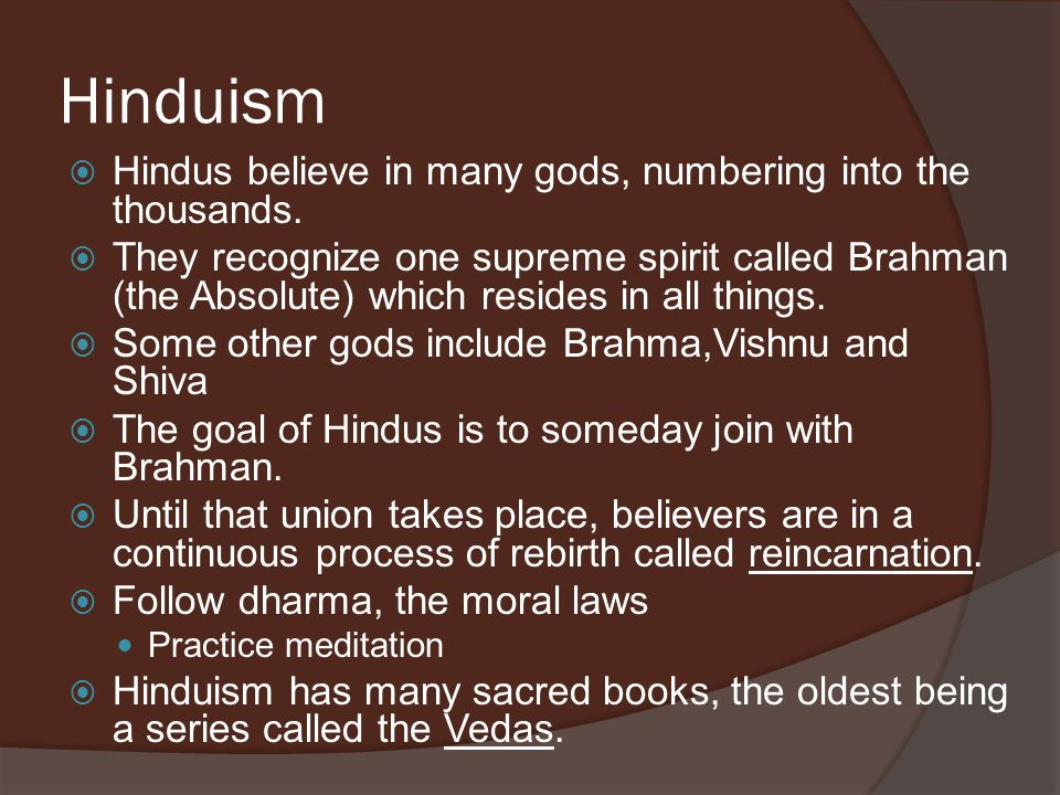 Hinduism Hindus believe in many gods, numbering into the thousands.
