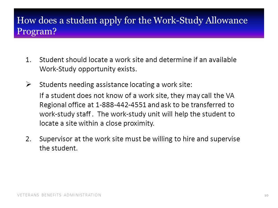 What is the Work-Study Allowance Program? - ppt video online download