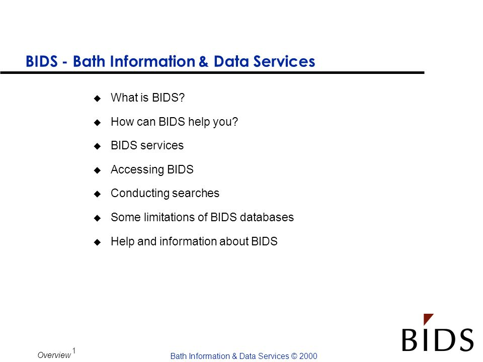 BIDS - Bath Information & Data Services