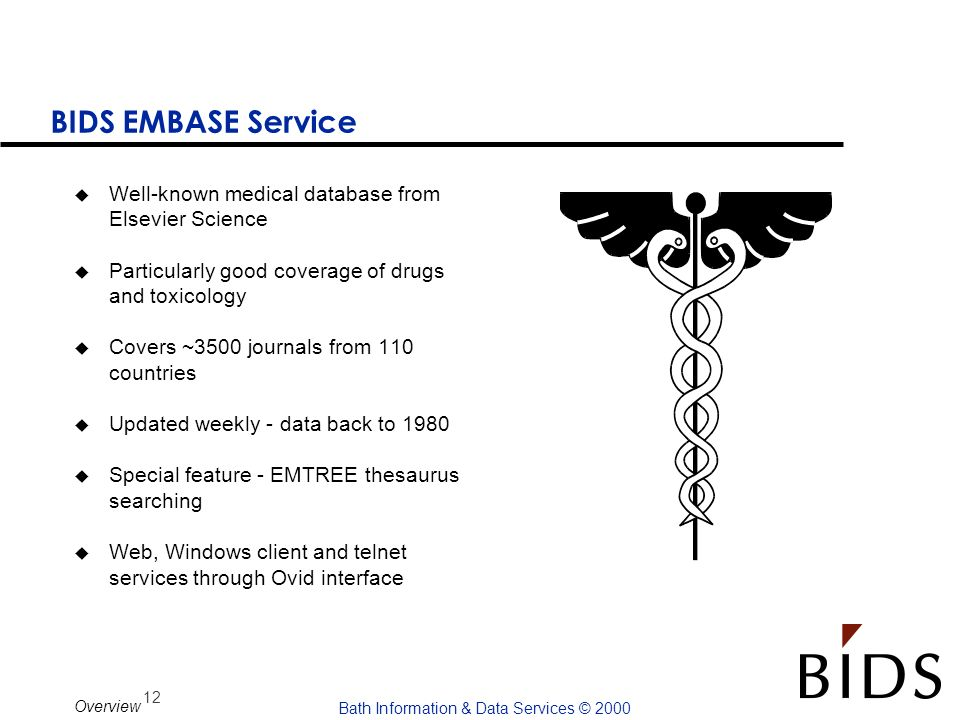 BIDS EMBASE Service Well-known medical database from Elsevier Science