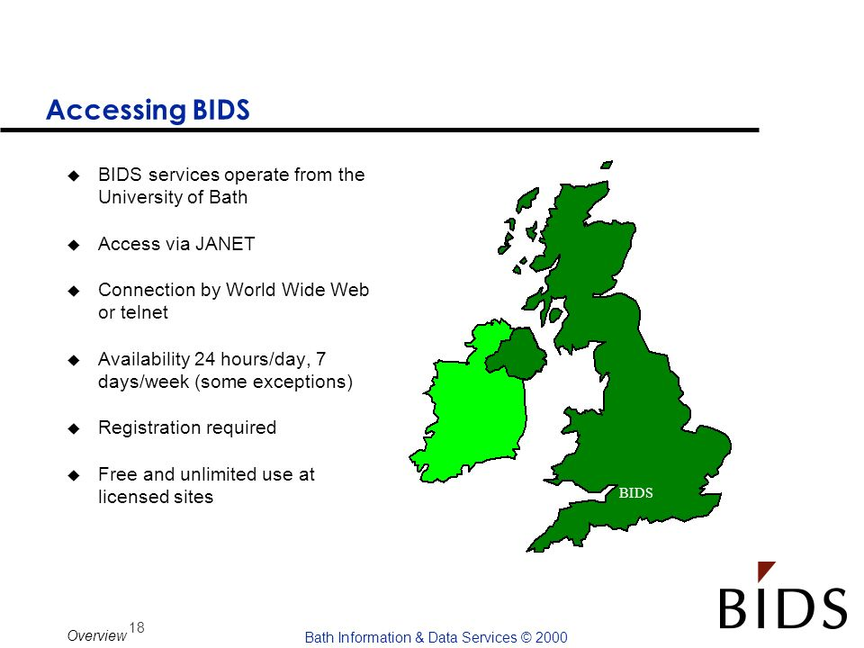Accessing BIDS BIDS services operate from the University of Bath