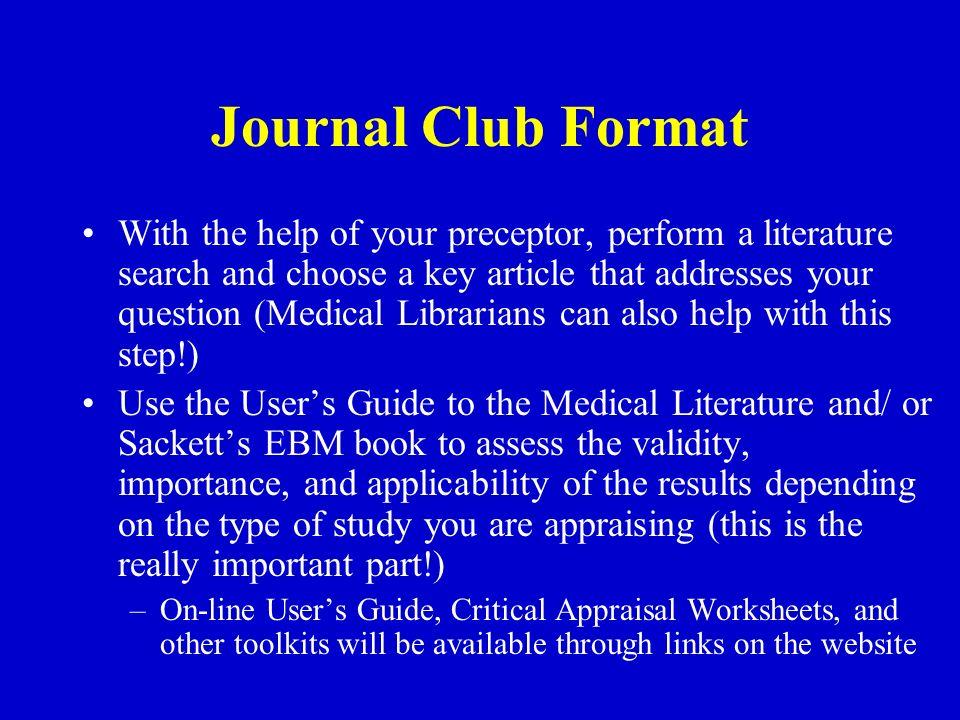 Ebm journal club yale pediatrics ppt download journal club format pronofoot35fo Images