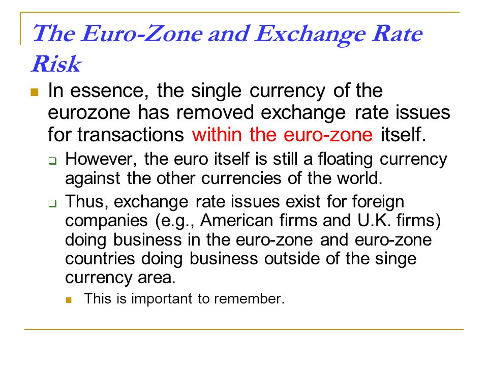 The Euro-Zone and Exchange Rate Risk