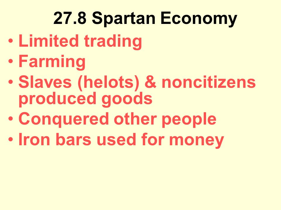 spartan economy Granitz 1 nicholas r granitz, indiana university spartan hero cults and religious motivation ancient and classical sparta enjoyed a reputation for piety unequaled among her greek neighbors, allies, and enemies.