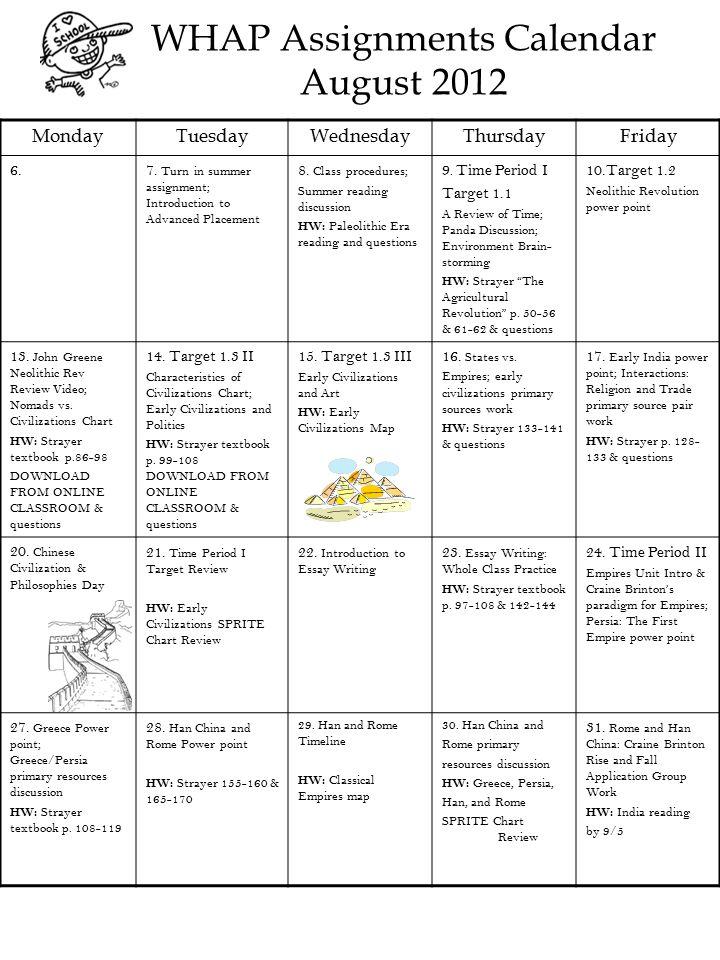 WHAP Assignments Calendar August 2012