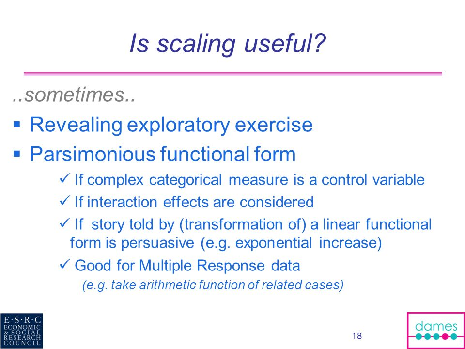 Is scaling useful ..sometimes.. Revealing exploratory exercise