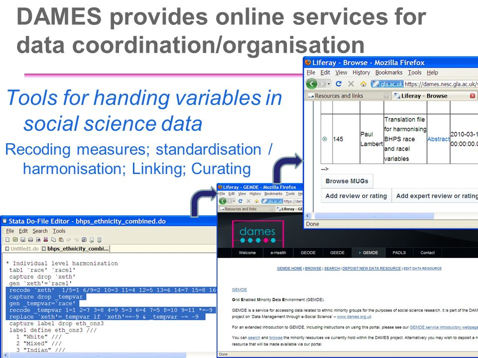 DAMES provides online services for data coordination/organisation