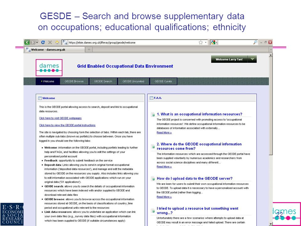 GESDE – Search and browse supplementary data on occupations; educational qualifications; ethnicity